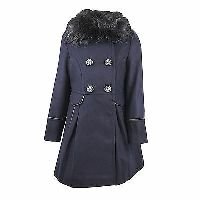 Girls Coat Faux Fur Collared Navy Blue Next Wool Smart Formal Coat Rrp £52 New