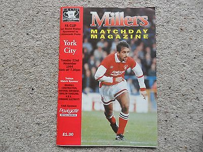 Rotherham United v York City 1994-1995 Nov. 22nd F A Cup Rd 1 Replay
