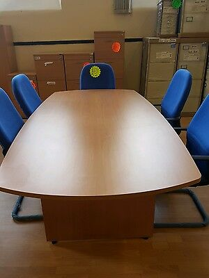 New boardroom meeting conference table in beech 2.4 metre x 1.2 metre