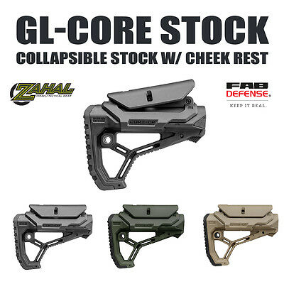 FAB Defense Tactical, Light Weight, Collapsible Stock w/ Cheek Rest - GL CORE CP