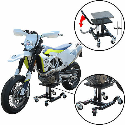 Tech7 Motocross BIKE LIFT Stand on Wheels for Dirt Enduro Moto X MX Trials Black