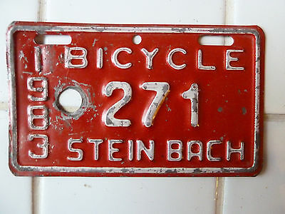 1983 STEINBACH Bicycle License Plate #271