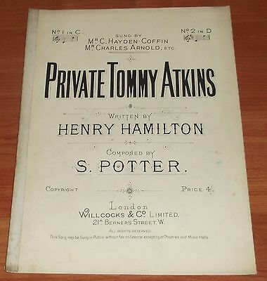 Victorian  Music Sheet..private Tommy Atkins.