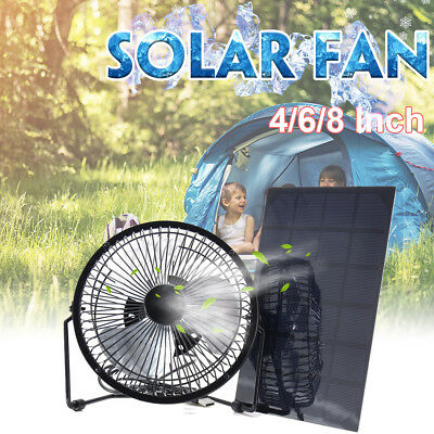 4/6/8'' USB Solar Panel Iron Fan Powered 5W For Outdoor Home Cooling Ventilation