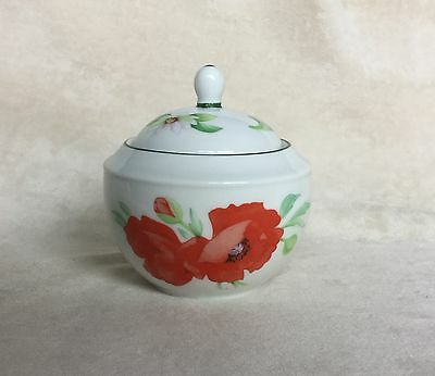 Rare Royal Worcester Poppies Lidded Sugar Bowl Excellent Pristine Condition