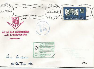 Norway 1973 Typed Cover From Oslo With Wrong Postage Rate Ref 693