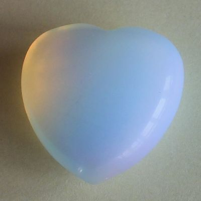 h34279  25mm White opalite heart piece