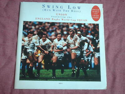 """England Rugby Squad-Swing Low 1991 7"""" + Foldout World Cup Chart/poster"""