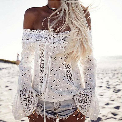 New Women Off Shoulder Long Sleeve Lace Blouse Ladies Loose Party Tops T-Shirt