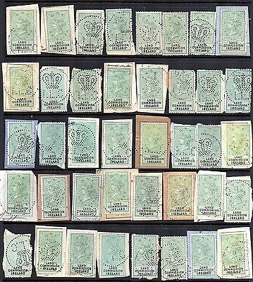 GB REVENUE QV Land Commission Ireland x 40 on piece Crown ILC Perfin can faults