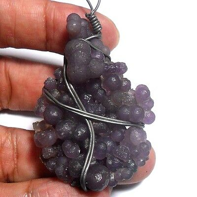 114ct VIOLET PURPLE CHALCEDONY Botryoidal Grape Pendant ~100% NATURAL Untreated~