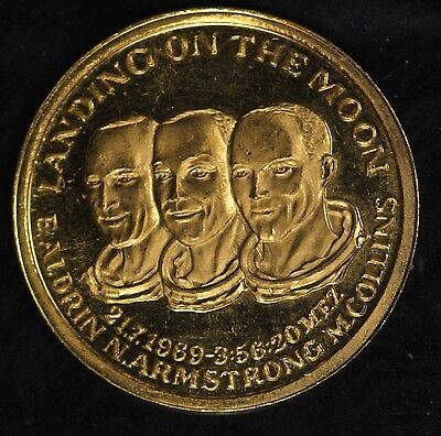"""""""Landing on the Moon"""" Aldrin, Armstrong, Collins Gold Commemorative Medal!!"""