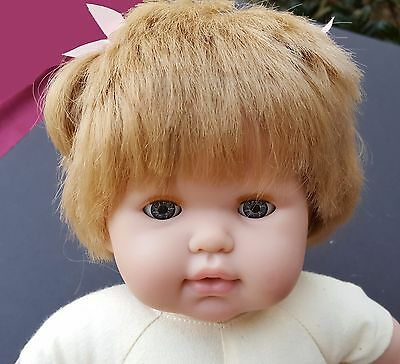 "Berenguer 15"" Soft Baby Doll Signed Pink Bows Blonde Hair Sleepy Eyes Life Like"