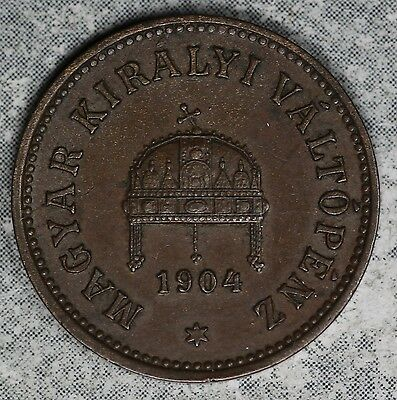 Better Condition 1904 Hungary 2 Filler Copper Coin