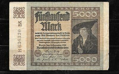GERMANY GERMAN #81a 1922 5000 MARK VG USED OLD BANKNOTE PAPER MONEY BILL NOTE
