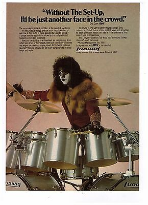 """1980 Vintage Eric Carr of Kiss """"Ludwig Drums"""" Print Advertisement"""