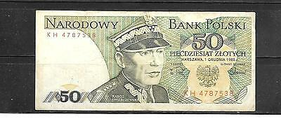 Poland #142C Very Good Circulated 1988 50 Zlotych Old Banknote Note Paper Money