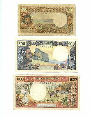 Papeete/overprint Tahiti ~ 3 Different Notes ~ Circulated~100, 500 & 1000 Francs