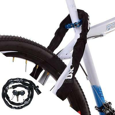 Flexible 1m/3.3' Motorcycle Bicycle Scooter Bike Cycling Chain Lock with 3 Keys