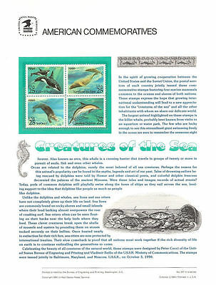 #357 25c Creatures of Sea #2508-2511a USPS Commemorative Stamp Panel