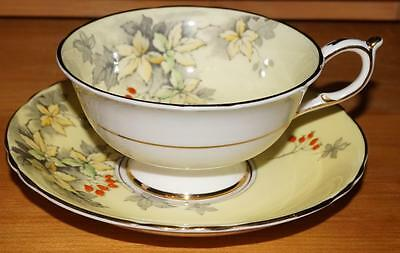 PARAGON By Appointment Pale Yellow with leaves enamel berries Teacup and saucer
