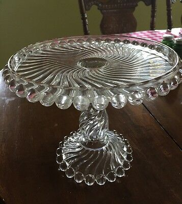 RARE EAPG BALL & SWIRL PEDESTAL  CAKE PLATE STAND 1894 Beautiful