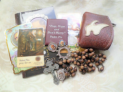 ST PADRE PIO LOT CATHOLIC RELIGIOUS DEVOTIONAL Booklets Rosary Relics
