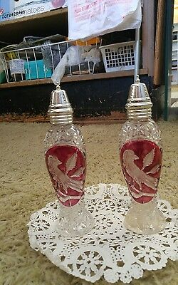 "Hofbauer German Crystal Ruby Red Bird Salt and Pepper Shakers Stunning 7"" Set"
