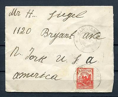 Lithuania/Lietuva 1924 - Cover Marijampo to New-York USA Single Usage. Id 135