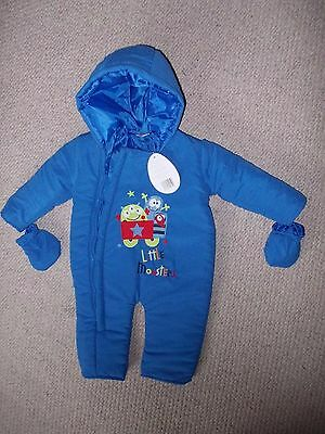 Baby Boy NEW blue all-in-one hooded suit 6-12 mths.