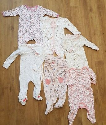 baby girls 0-3 months sleepsuits x 6 babygrows pink