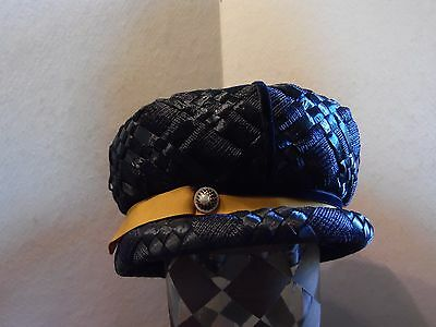 Vintage Gimbels Union Made Navy Blue Raffia Ladies Cloche Bucket Hat Tan Trim