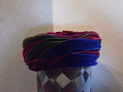 Vintage Maroon Blue Green Velour Turban Style Ladies Hat