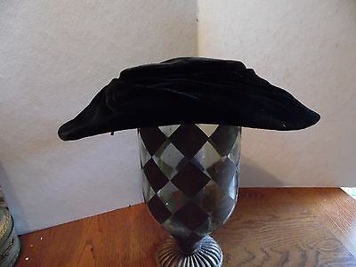 Vintage Black Velour Flat Twisted Design Ladies Hat