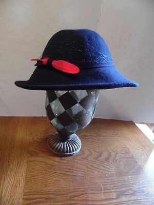 Vintage Chelton Navy Blue Wool Felt Ladies Hat With Red Feather