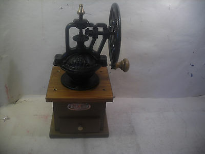 manual cast iron & wood coffee grinder