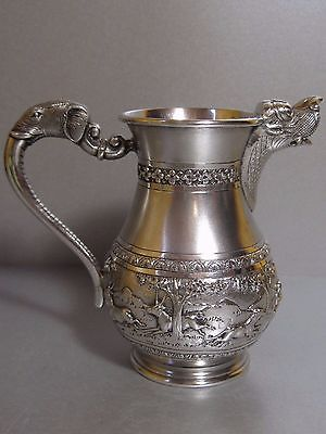 C. KRISHNIAH CHETTY & SONS Bangalore Indian Solid Silver Jug Hunting Scenes