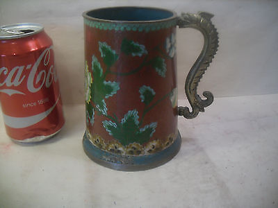 antique chinese cloisonne tankard dragon handle
