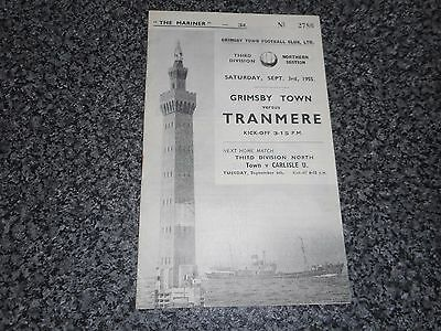 GRIMSBY TOWN  v  TRANMERE ROVERS  1955/6  DIVISION 3 (NORTH) ~ SEPTEMBER 3rd