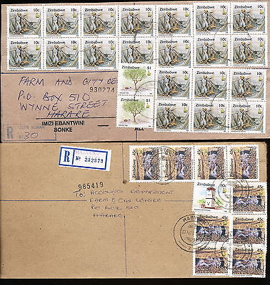ZIMBABWE 1990 's 5 REGISTERED LETTERS & COVERS FINE USED.NICE FRANKINGS.   A204
