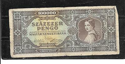 HUNGARY #121a 1945 VG CIRC 100,000 PENGO OLD BANKNOTE PAPER MONEY BILL NOTE