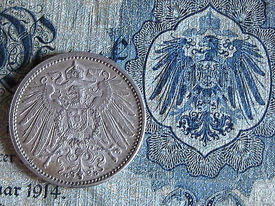Old German SILVER COIN and MATCHING 20MARK NOTE 1914     100 YEARS OLD
