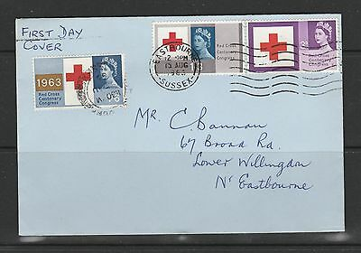 GB FDC, 1963 Red Cross Ord, eastbourne cds