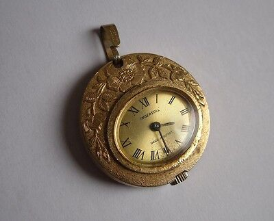 vintage INGERSOLL ladies necklace watch with flowers design
