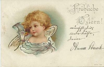 Ellen Clapsaddle ( unsign)  Pretty little Easter Angel   Early Chromo Litho