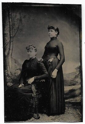 Antique Tintype Photograph Two Victorian Women