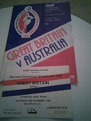 Great Britain v Australia Rugby League Programme & Ticket 1982/83