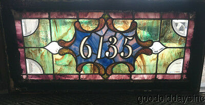 "Antique Stained Leaded Beveled Glass Transom Address Window 34"" by 16"""