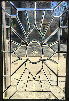 "Antique Hand Beveled Glass Window w/ Zipper Bevels 41"" by 28"" Circa 1900"