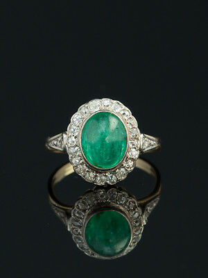 Vintage Natural Emerald And Diamond Halo Ring